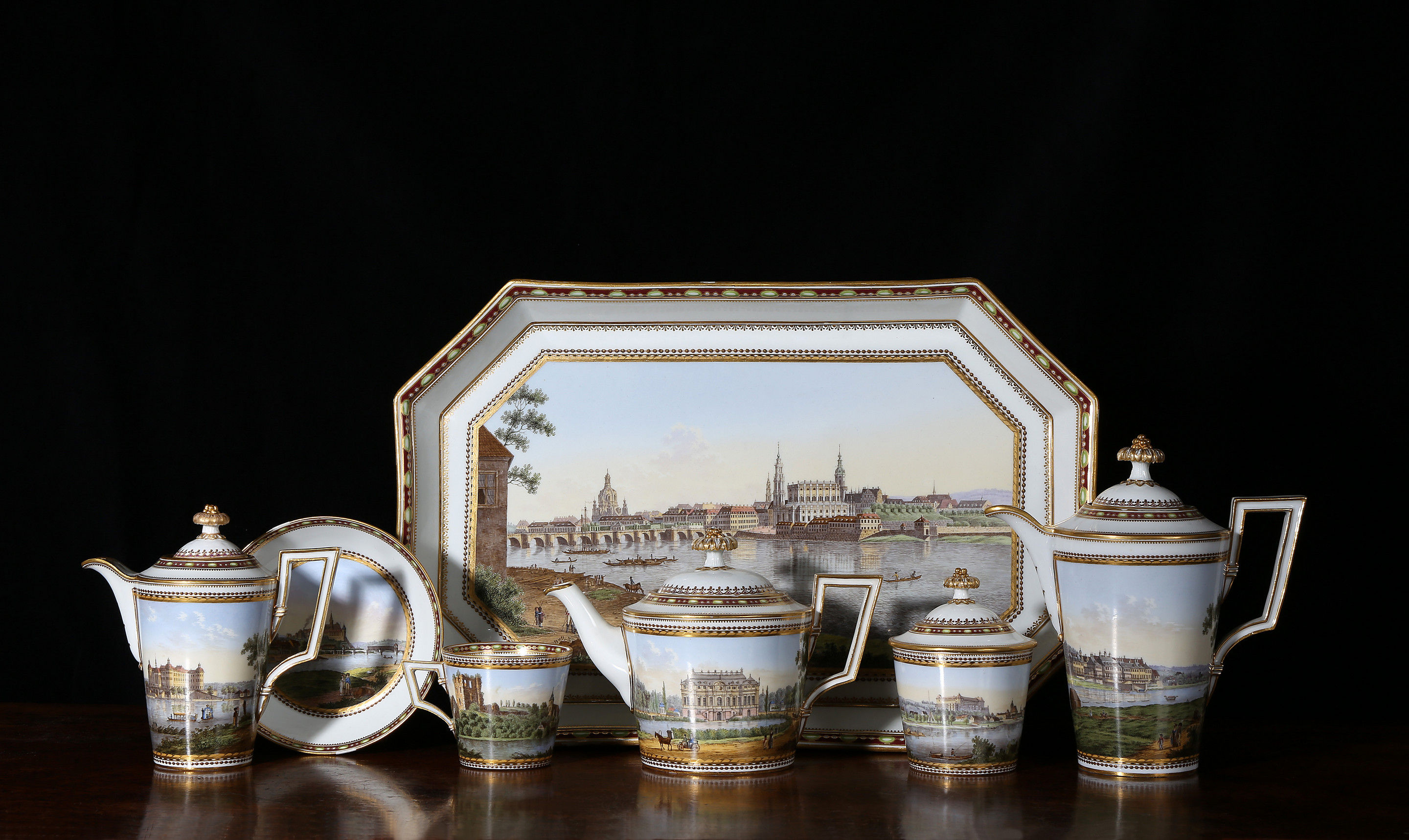 A Meissen topographical tea and coffee service