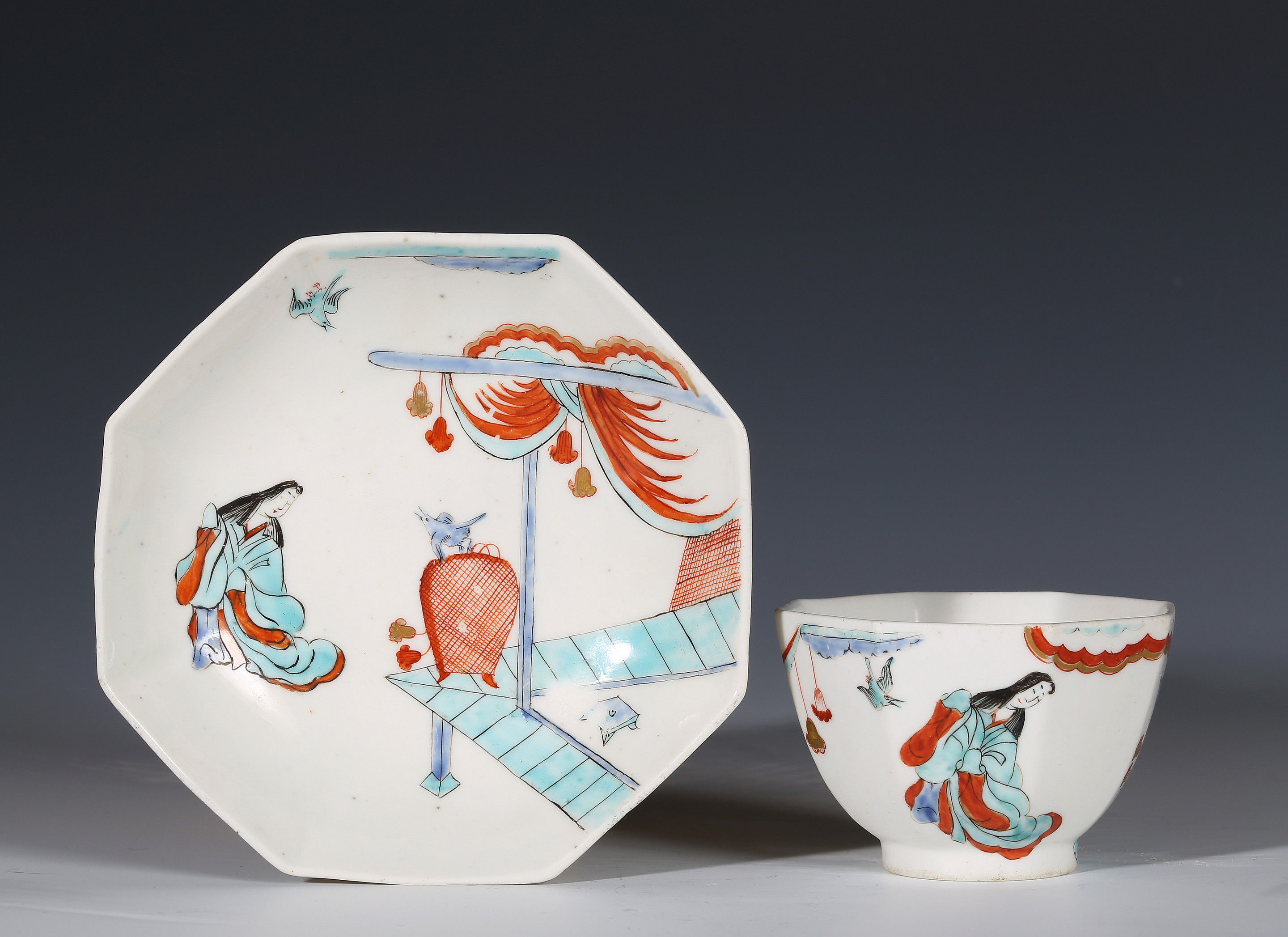 Chelsea Kakiemon Octagonal Teabowl and Saucer Decorated with the Lady in a Pavilion pattern