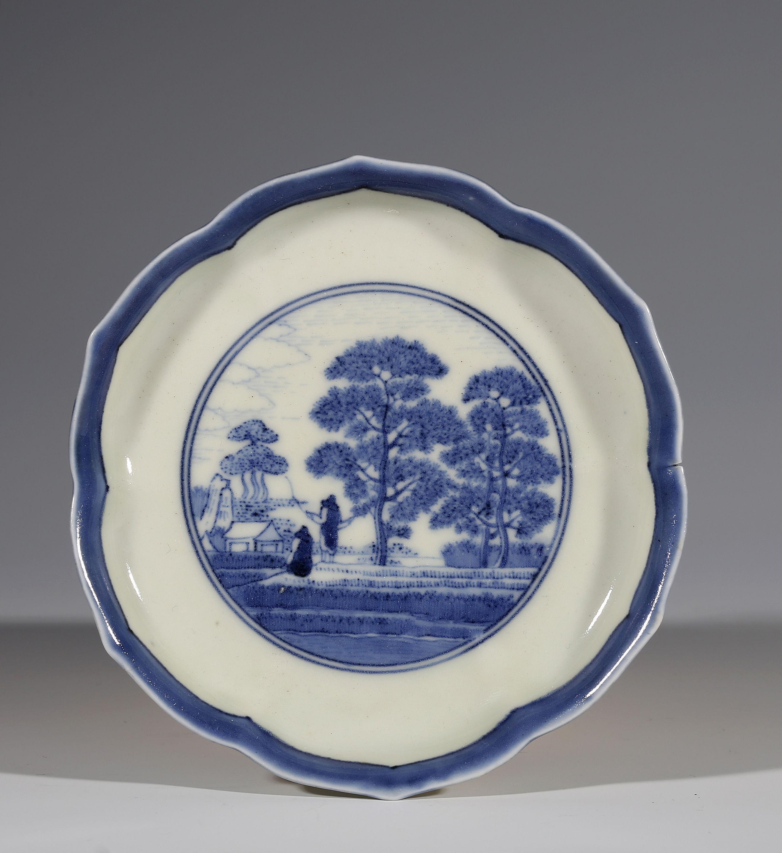 An Arita blue and white hexafoil dish after a Delft van Frijtom original