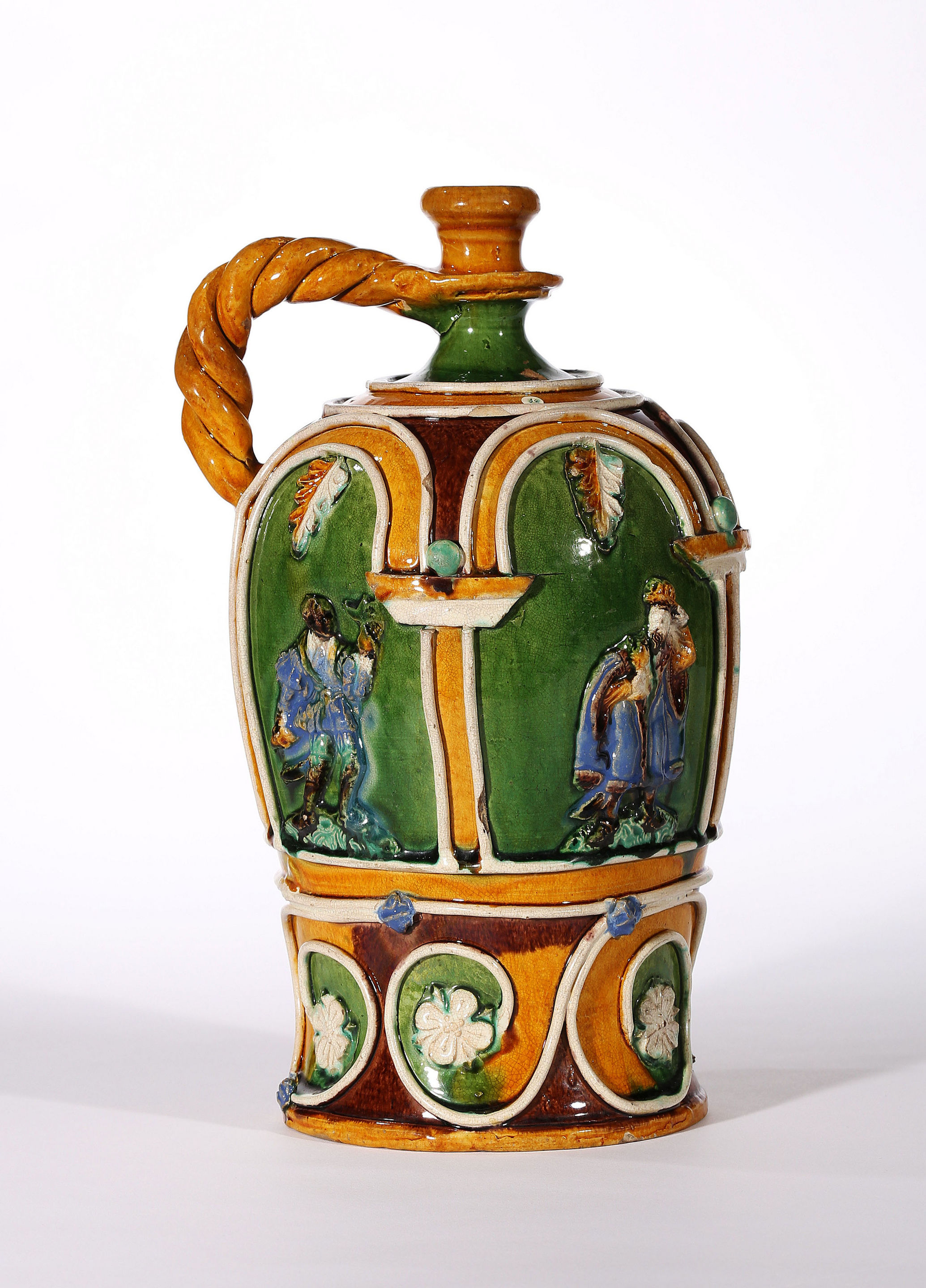 Hafnerware Flask with The Adoration of the Magi, Workshop of Paul Preuning