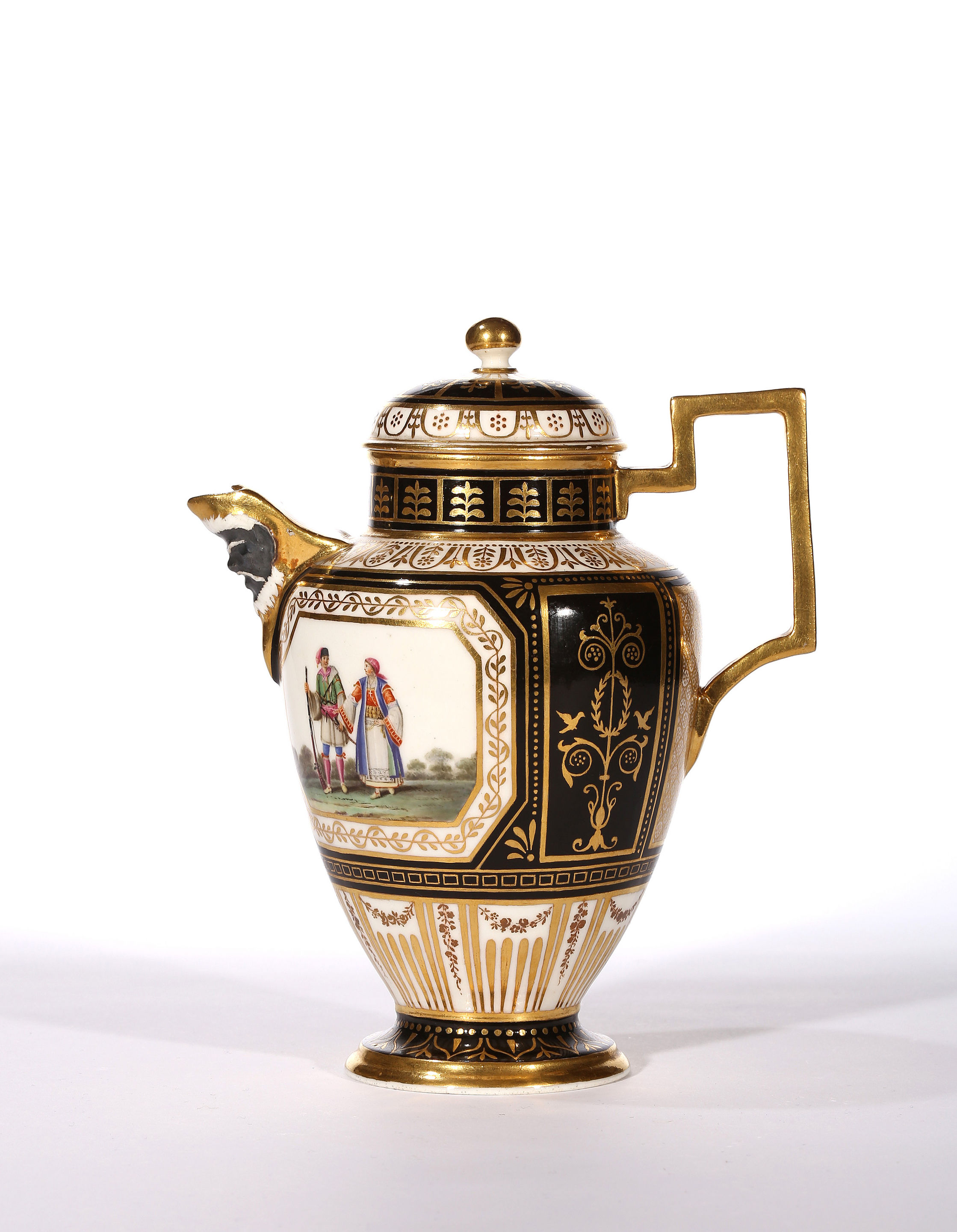 A Real Fabbrica Ferdinandea, Black-ground Coffee Pot and Cover