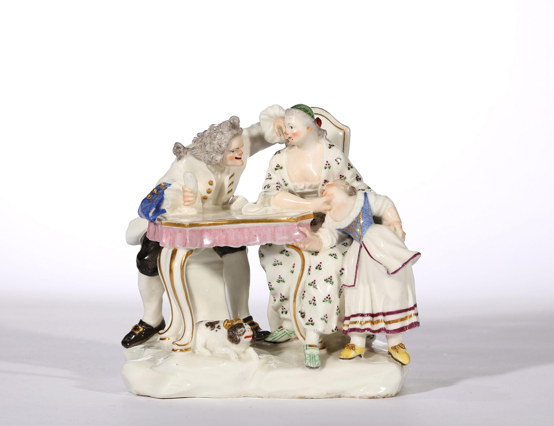 A CAPODIMONTE GROUP OF La Conversazione Galante Modelled by Giuseppe Gricci