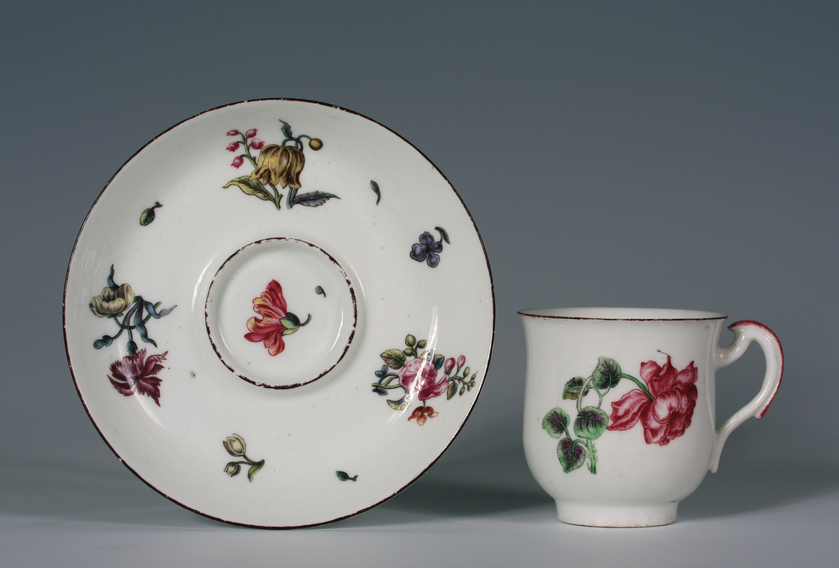 A very early Vincennes gobelet calabre and saucer