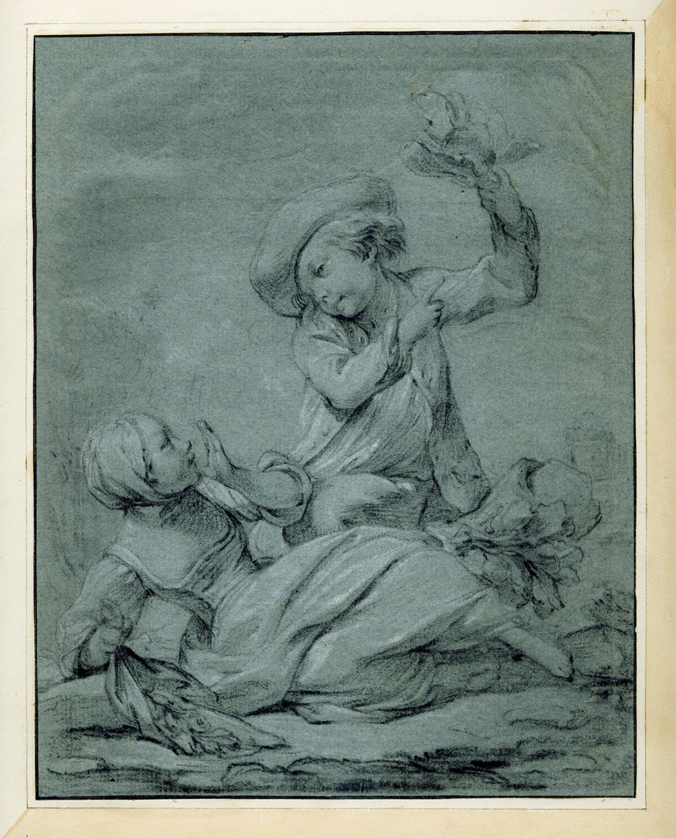 A drawing of La feuille à l'envers by Pierre-Etienne Falconet