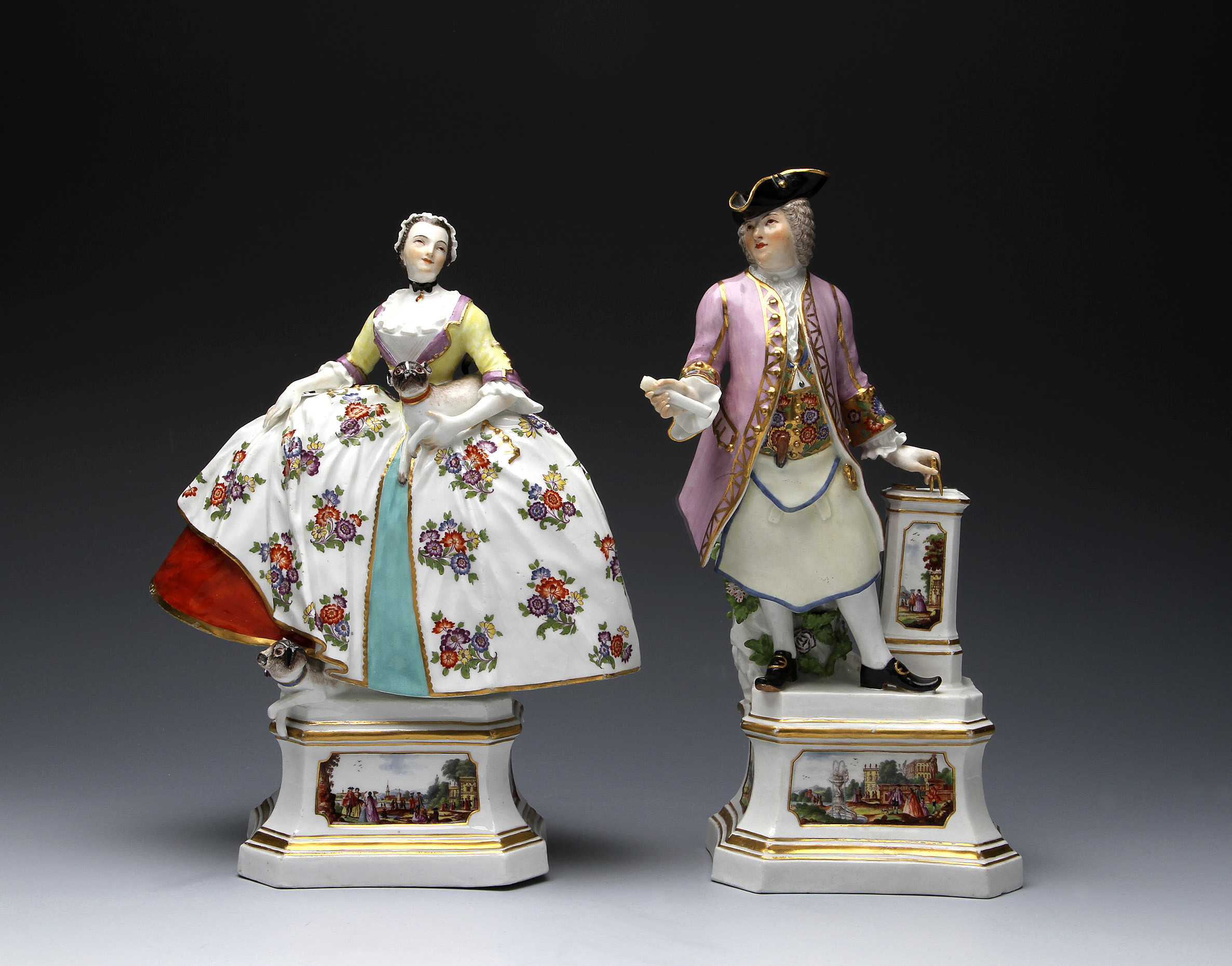 MEISSEN FREEMASON AND A LADY OF THE MOPSORDEN, modelled by