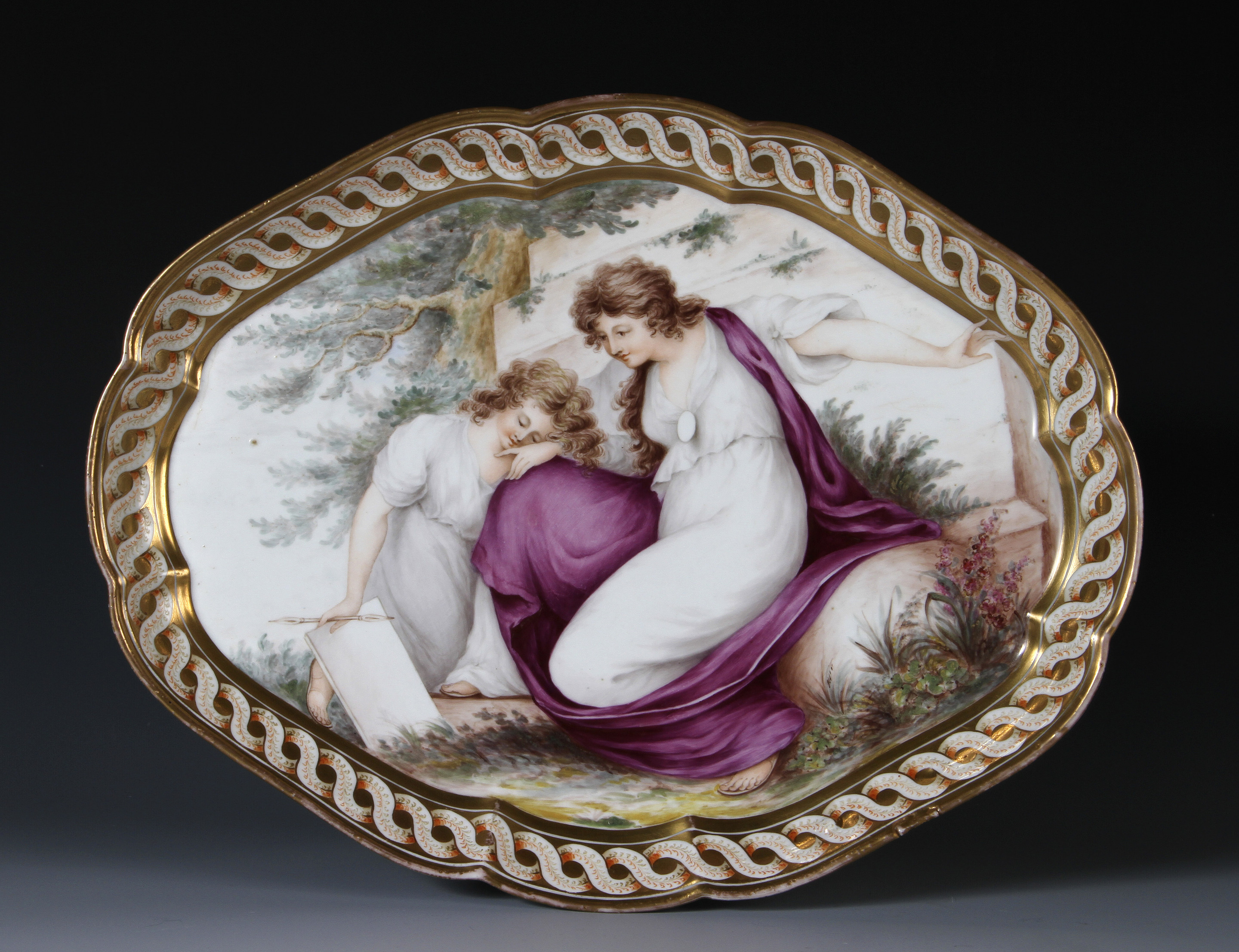 A Coalport Porcelain Tray decorated in the london workshop of Thomas Baxter