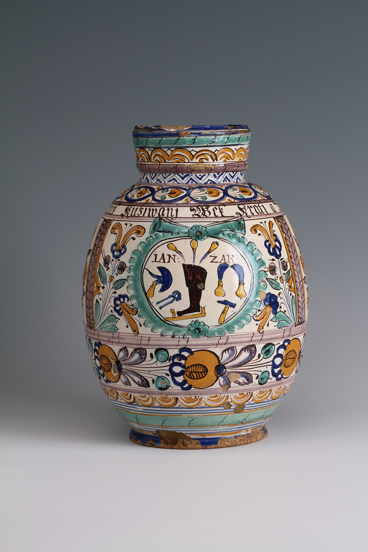 A Haban faience jug dated 1730
