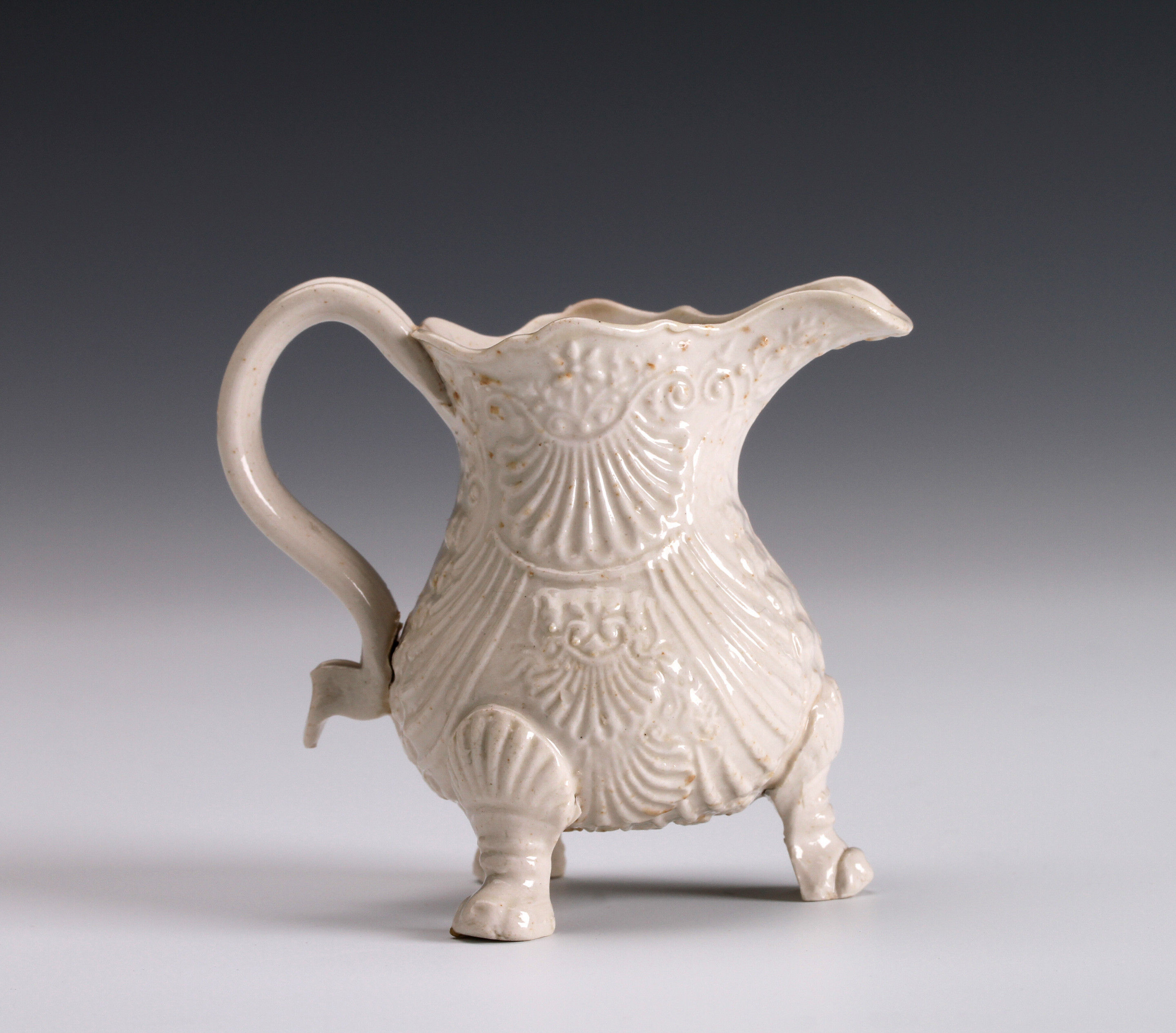 Salt-glazed Stoneware miniature shell-moulded jug