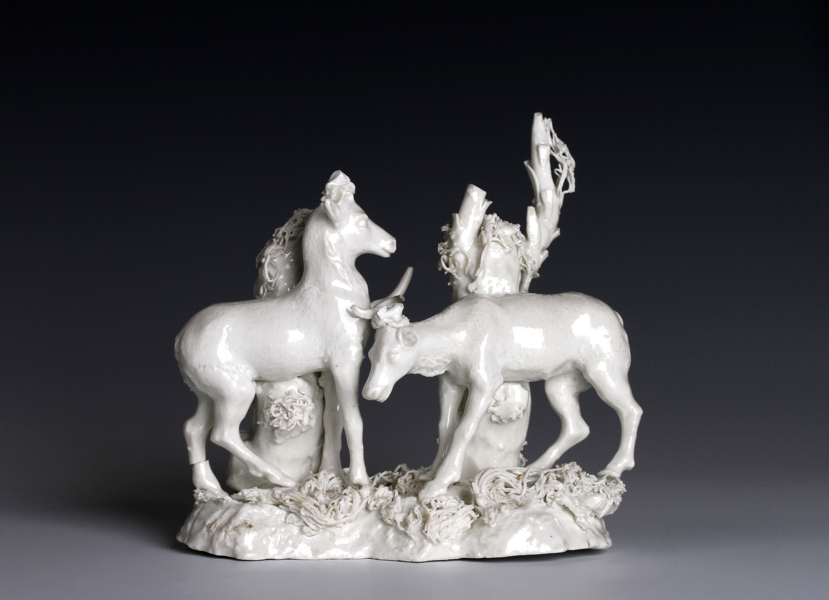 Würzburg Porcelain white group of two deer
