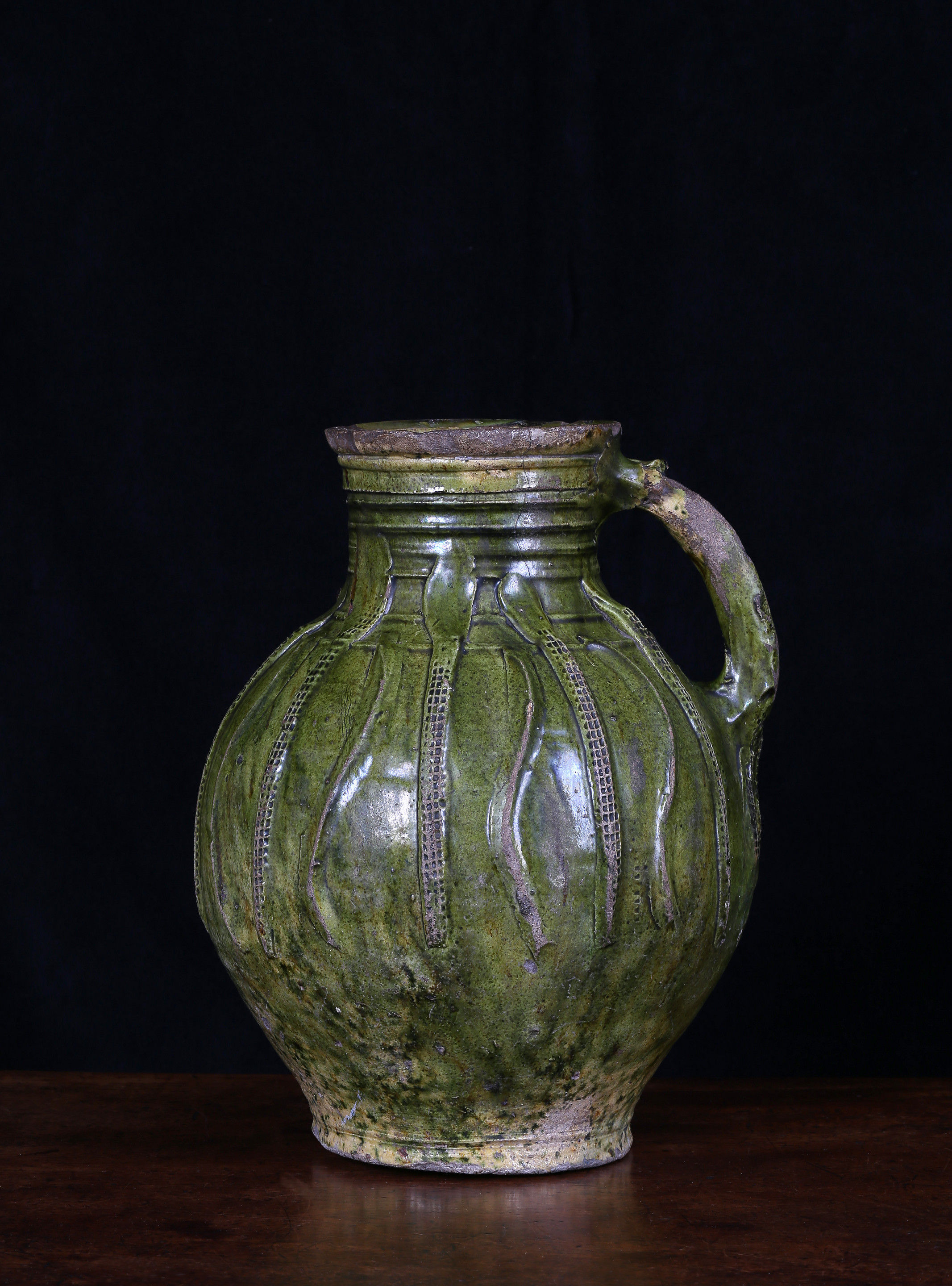 A Large French Medieval Green-Glazed Jug