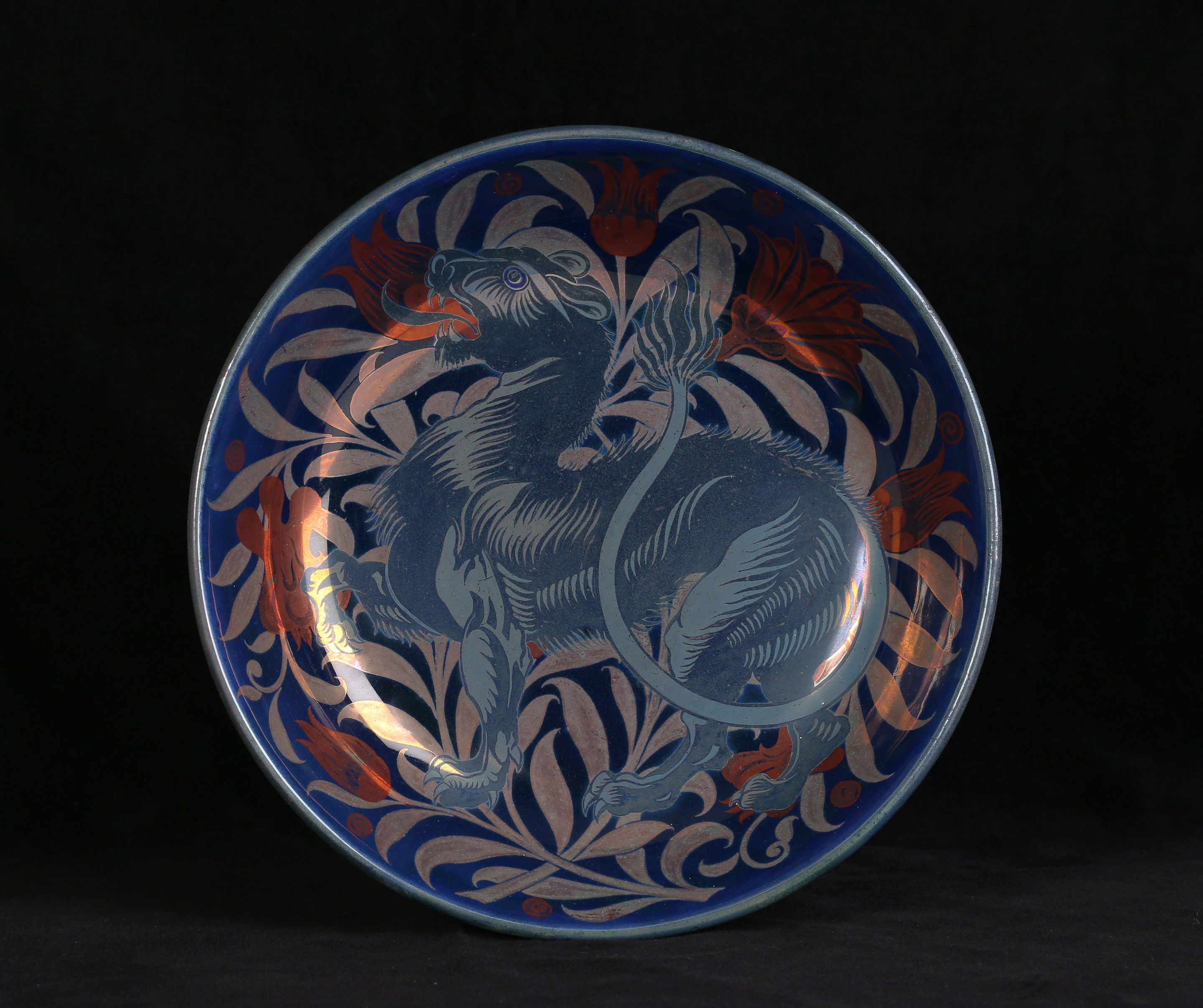 A William De Morgan Triple Lustre 'Moonlight and Sunset Suite' Saucer Dish, Decorated by Charles Passenger
