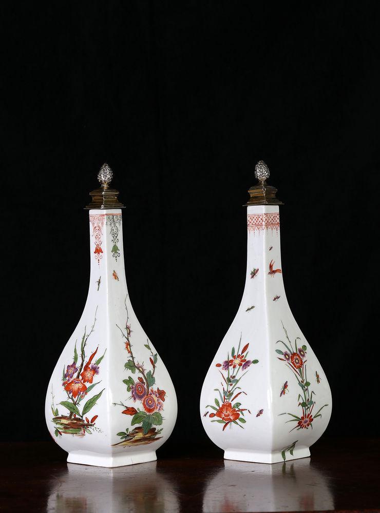 Two Meissen squared bottle vases