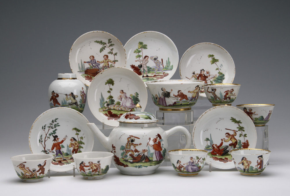A Chinese porcelain part tea service decorated in London by Jefferyes Hammet O'Neale with scenes from the Commedia dell'Arte